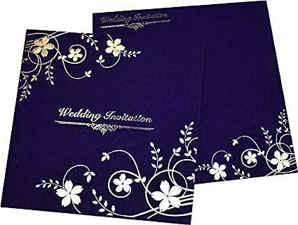 Yash Wedding Cards Blue Coloured Beautiful Wedding Invitation Card