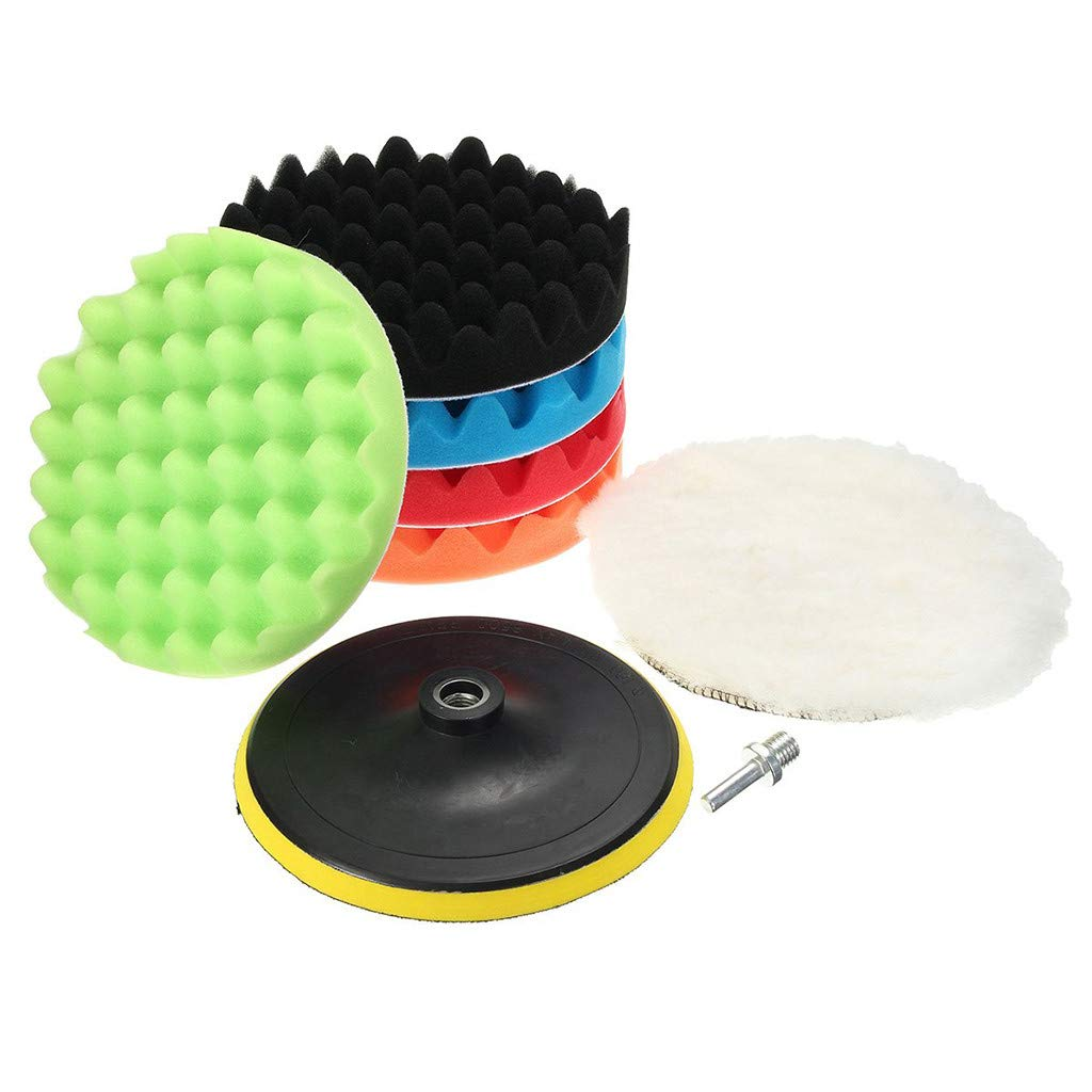 7Pcs Polishing Pad Kit DBHAWK Car Foam Drill Sponge and Woolen Polishing Waxing Buffing Pads Kits with M14 Drill Adapter Car Care Polisher (3 Inches)