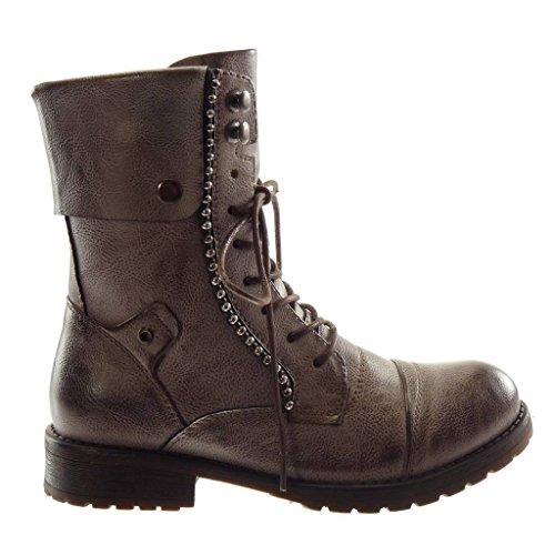 Perle metallisch Stiefel Khaki Spitze 3 Blockabsatz Stil Angkorly Boots Combat Damen Stiefeletten cm Biker Vintage Schuhe PqwvtB