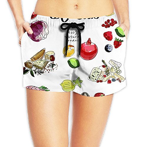 Food And Drink Comfortable 2017 New Style Women's Beach Shorts (Food Hamper Delivery)