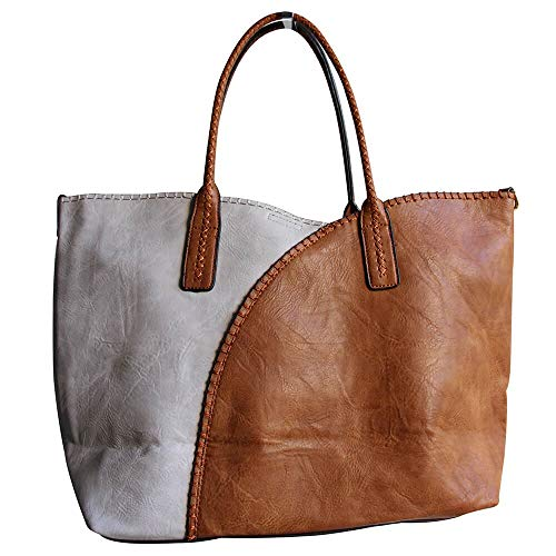 Donna Camel Taglia Shopping Noir Nero et Borsa Et Gris Unica mode Tote Blanc ITPwx6fvTq