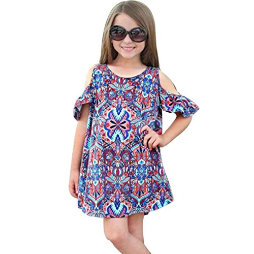 2017 FEITONG Summer Baby Kids Girls Bohemian Dress Clothes Outfits (7T, Multicolor)