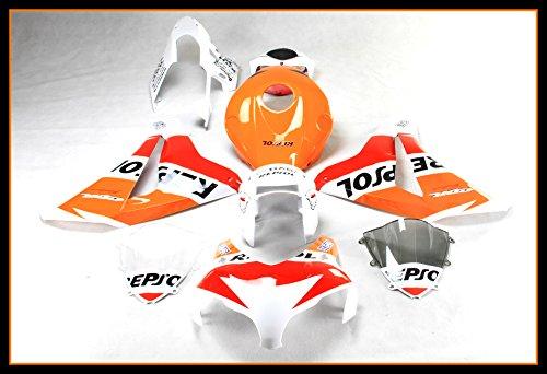 Protek ABS Plastic Injection Mold Full Fairings Set Bodywork With Heat Shield Windscreen for 2008 2009 2010 2011 Honda CBR1000RR White Repsol Edition ()