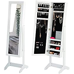 Jewelry Mirror Cabinet White Mirror Armoire Storage Floor Full Length Dressing Mirror Adjustable Wood Jewelry Organizer Box with 3 Angles