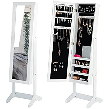 Perfect Jewelry Mirror Cabinet White Mirror Armoire Storage Floor Full Length  Dressing Mirror Adjustable Wood Jewelry Organizer