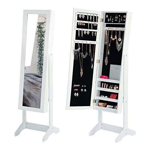 Jewelry Mirror Cabinet White Mirror Armoire Storage Floor...
