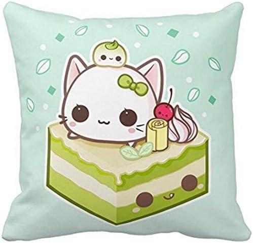Leuke mochi kitty met Kawaii groene theekaart kussen hoes 1818