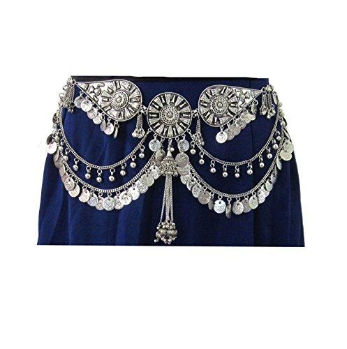 Unique Womens Dress Costume Pants Jeans Skirt Gown Midi Maxi Fashion Belt - Body Chain Metal Coin Fringe Tassel - Boho Tribal Kuchi Gypsy Wedding Sash Waist Decoration Belly Dance Jewelry