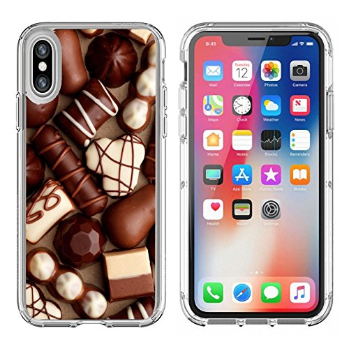 MSD Apple iPhone X Clear case Soft TPU Rubber Silicone Bumper Snap Cases iPhone10 IMAGE of candy chocolate food sweet brown dessert dark delicious snack gourmet gift background confectionery conf