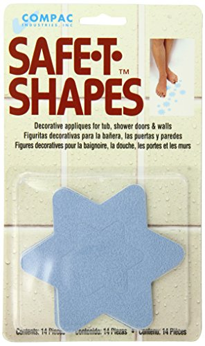 Compac Industries Safe-T-Shaped Bath-Tub Mat, Blue Star, Large ()