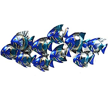 Perfect BEAUTIFUL UNIQUE Blue NAUTICAL SCHOOL OF FISH CONTEMPORARY METAL WALL ART