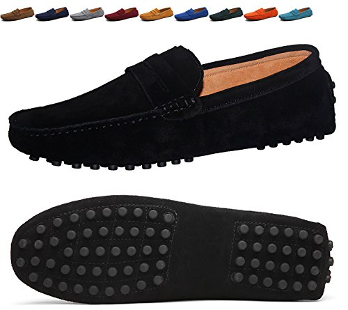 Boat Classic Mens (Go Tour Men's Classy Fashion Slip Penny Loafers Casual Suede Leather Moccasins Driving Shoes Flats Classic Boat Shoes Black 43)