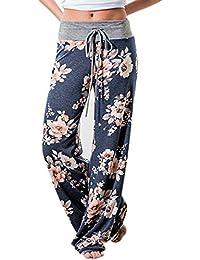 Women's Casual Pajama Pants Floral Print Drawstring...