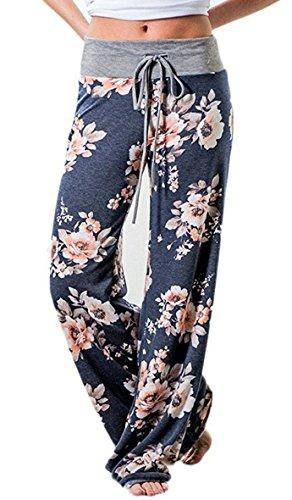 AMiERY+Pajamas+For+Women+Women%27s+High+Waist+Casual+Floral+Print+Drawstring+Wide+Leg+Palazzo+Pants+Lounge+Pajama+Pants+%28Tag+M+%28US+6%29%2C+Blue%29