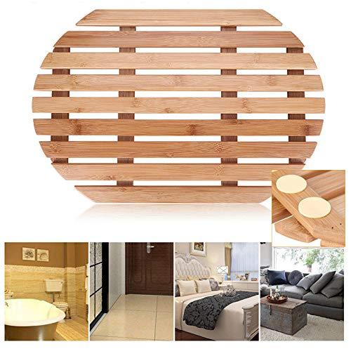 - Cocoarm Bamboo Bath Mat, Luxury Multipurpose Non Slip Wooden Shower Rug Bathroom Door Floor Mat Kitchen Floor Rug Safety Protection Oiled Finish Indoor Outdoor Use (Oval)
