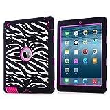 iPad Case,iPad 2/3/4 Case,BENTOBEN Silicone Plastic 3 in 1 Hybrid Shockproof & Drop Resistance Anti-slip cover for iPad Case iPad 2/3/4 Case(Zebra+Rose Red)