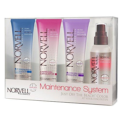 Norvell Self-Tanning Maintenance System - Renewing Exfoliator (2.5 oz), Body Buff eXmitt (Single), Bronzing 4-Face (2 oz), pH Balancing Cleanser (2.5 oz) -