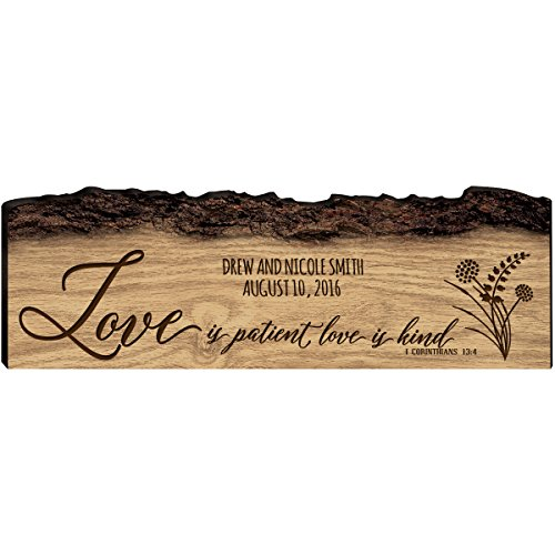 Personalized Family Gift Custom Family Name Sign Engraved with Family Names And Established Date Love is Patient Love is Kind 1 Corinthians 13:4 By Dayspring Milestones (Love is Patient)