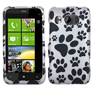 Protector Cover Snap On Hard Crystal Case For HTC Titan II - Dog Paws