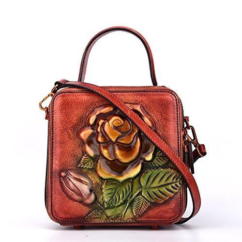 En Main À Véritable Cuir Femmes Tote Sac Vintage De Crossbody couleur Rouge Filles Fleur Bandoulière Rouge Bolso Mujer Mano Zipper Viaje Purse xav8wWFY