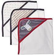 Rene Rofe Baby Little Kids Basics Unisex 3 Pack Hooded Towel Set, Stars and Stripes, Newborn