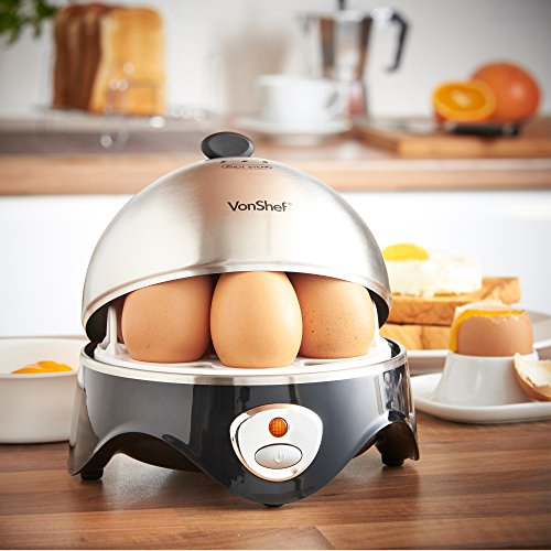 VonShef 7- Egg Electric Cooker Stainless Steel with Poacher & Steamer Attachment