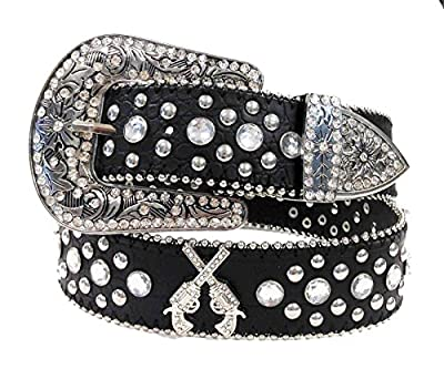 DF Western Cowgirl Six-Shooter Bling Rhinestone Belt Black
