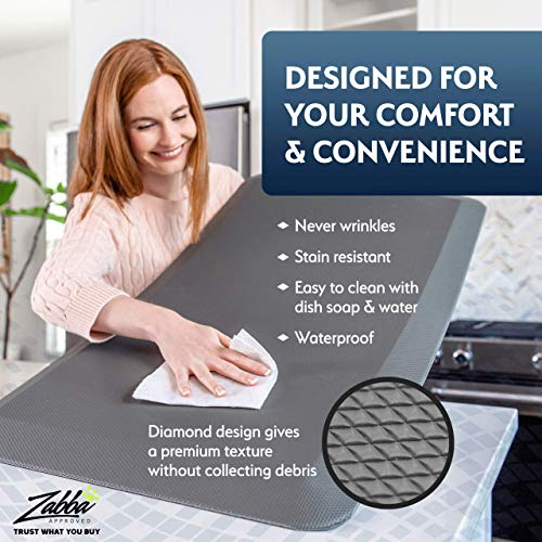 Sky Solutions Anti Fatigue Mat - Cushioned Comfort Floor Mats For Kitchen, Office & Garage - Padded Pad For Office - Non Slip Foam Cushion For Standing Desk (24x70x3/4-Inch, Black)