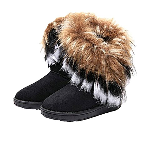 Womens Snow Boots For Winter Ankle Boot Booties Fox Rabbit Fur Fringe Shoes Black Vegan Size 8.5 8 - Ankle Indian Boots