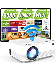 "$149 » WiFi Projector, POYANK Upgraded 6500Lumens Portable Mini Projector, Full HD 1080P and 200"" Display Supported, Compatible with Phone/TV Stick/HDMI/AV/USB/TF/VGA"
