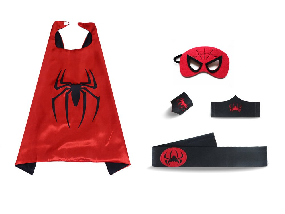 Superhero Spider Dress Up Costumes Capes and Masks Sets for Children Cosplay