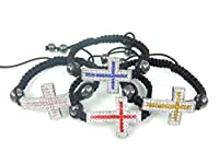 WeMore(TM) Fashion shamballa weaving hand rope hematite cross set bracelet