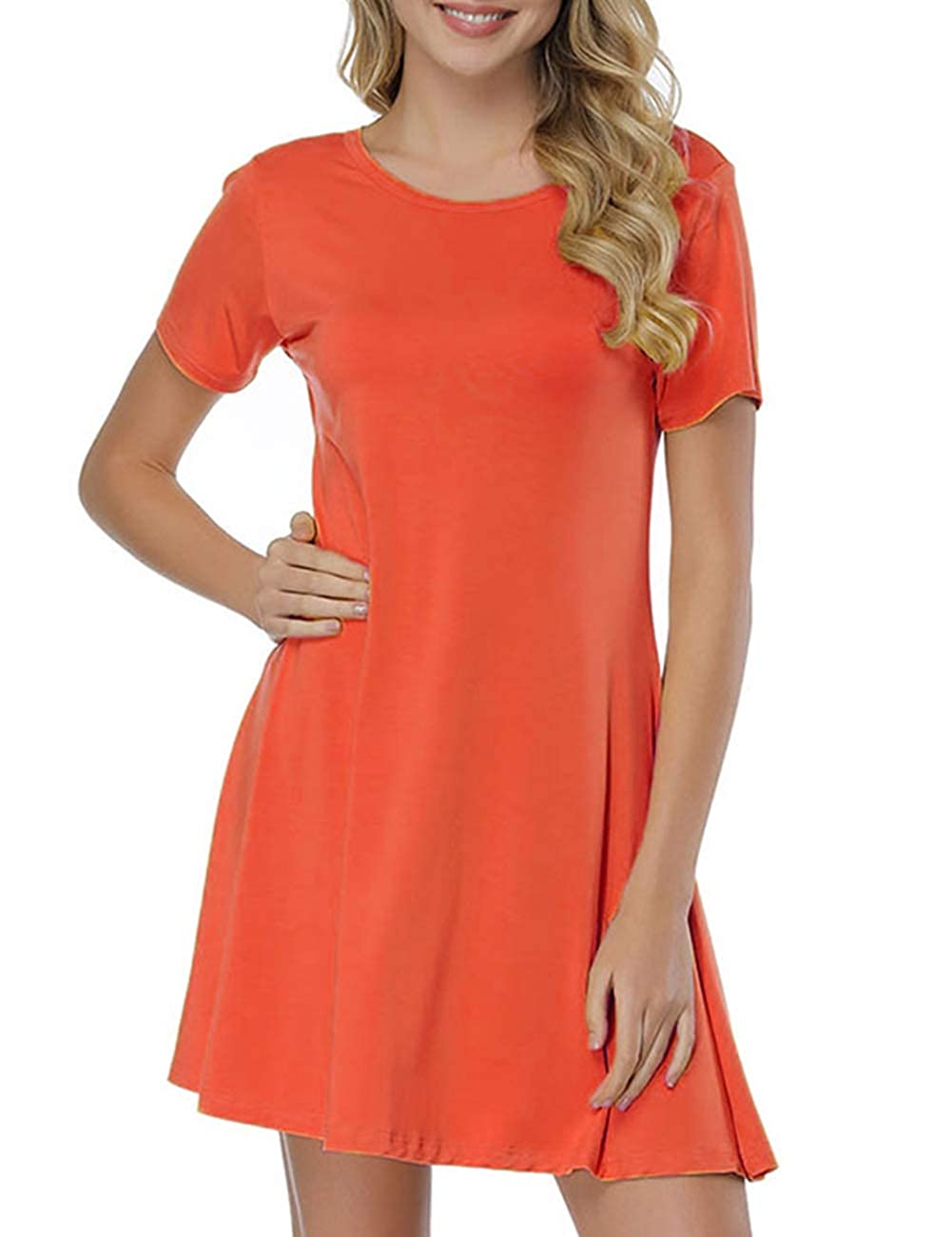 orange JOYMODE Women's Short Sleeve Casual Swing Bamboo TShirt Comfy Midi Dresses