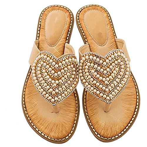 (JORCOKA Women Summer Luxury Bohemia Bead Slippers Beach Flat Sandals Non Slip Flip Flops Apricot)