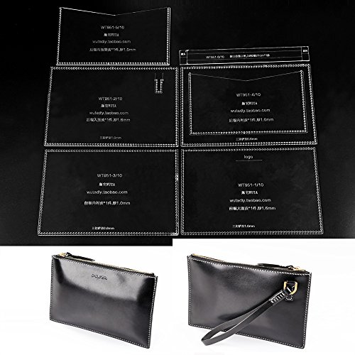 Leather Handbag Patterns (WUTA Unisex Casual Clutch Handbag Acrylic Template Set Leather Zipper Hand Bag Pattern WT951)