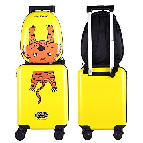 Kids Luggage Backpack Set, Toddler Hard Shell Carry on Suitcase for Boys Travel -