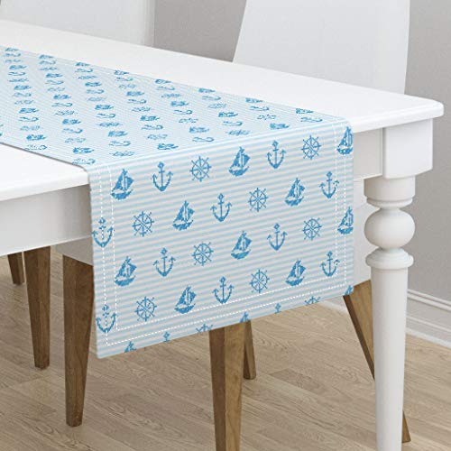 Table Runner - Nautical Stripe Ocean Nautical Nursery Faux Cross Stitch Sea Blue Kids Ocean by Ornaart - Cotton Sateen Table Runner 16 x 72