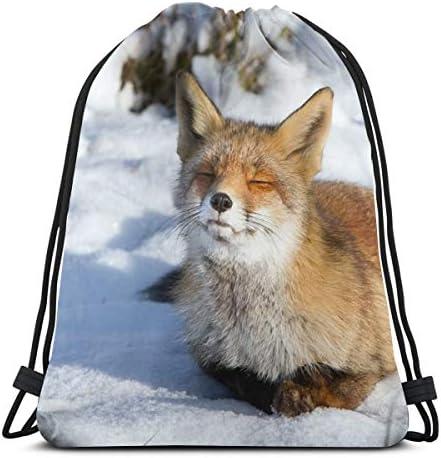 Fox Face Winter Snowドローストリングバッグジムダンスバックパックショルダーバッグギフト36 x 43cm