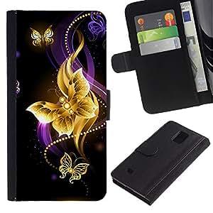 """Samsung Galaxy Note 4 IV / SM-N910 , la tarjeta de Crédito Slots PU Funda de cuero Monedero caso cubierta de piel ("""" Butterfly Black Colorful Purple Fire"""")"""