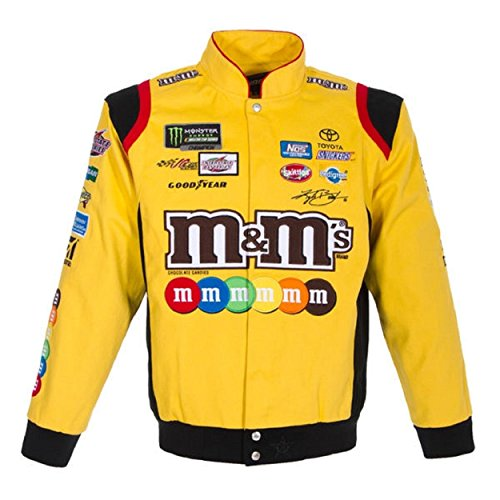 Kyle Busch Jackets - Kyle Busch M&M's Mens Yellow Twill NASCAR Jacket by JH Design Size Medium