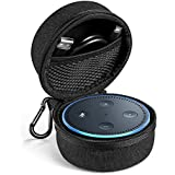 UGREEN Carrying Case for Echo Dot 2nd Generation Travel Protective Hard Case Holder Cover for Echo Dot 2 Speaker, Fits for USB Cable and Wall Charger Accessories, Portable with Carabiner (Black)