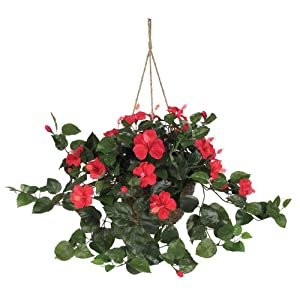 Nearly Natural 6614-RD Hibiscus Hanging Basket, Red 79
