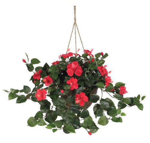 Nearly Natural 6614-RD, Red Hibiscus Hanging Basket,