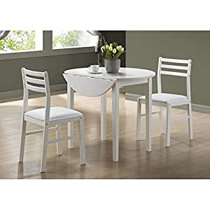 Monarch specialties 3 piece dining set with 36 inch diameter drop leaf table white - Inch diameter dining table ...
