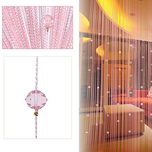 BKDZ Decorative Door String Curtain Beads Wall Panel Fringe Window Room Divider Blind for Wedding Coffee House Restaurant Parts Crystal Tassel Screen Home Decoration (Pink) ()