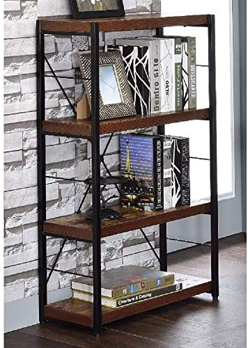 SSLine Rustic 4-Shelf Bookcase Industrial Vintable Open Bookshelf Solid Wood Metal Frame Etagere Book Shelf Standing Storage Shevles Organizer