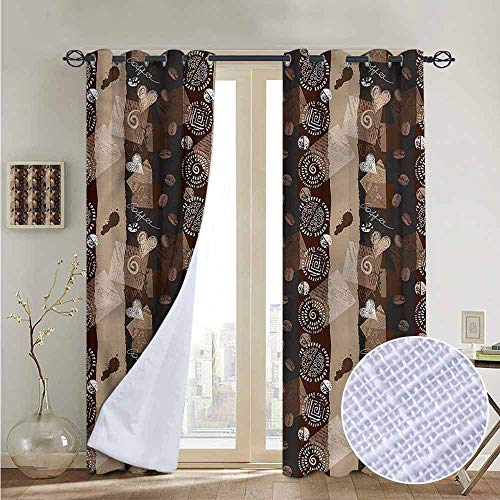 NUOMANAN Customized Curtains Brown,Coffee Typo Hearts Beans,Blackout Draperies for Bedroom Living Room 120