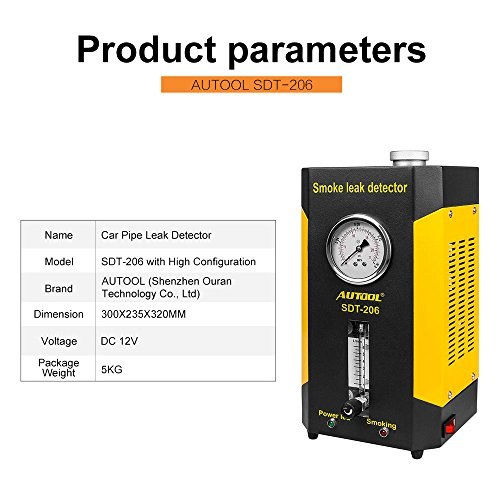 AUTOOL Vehicle Boat Conduit Pipe System Smoke Leak Detecting Tester Diagnostic Machine with Flowmeter Pressure Guage by AUTOOL (Image #3)