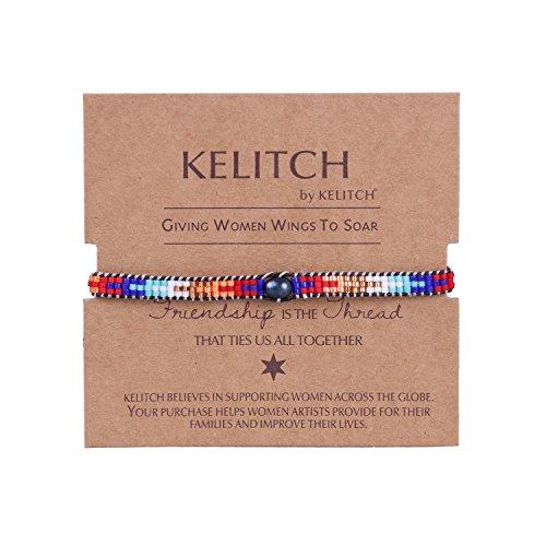 KELITCH Pearl Sead Beaded Wax rope Charm Wrap Bracelets Handmade Friendship New Women Jewelry (Color)