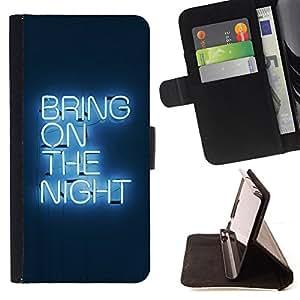 BullDog Case - FOR/Apple Iphone 4 / 4S / - / Bring On The Night Neon /- Monedero de cuero de la PU Llevar cubierta de la caja con el ID Credit Card Slots Flip funda de cuer